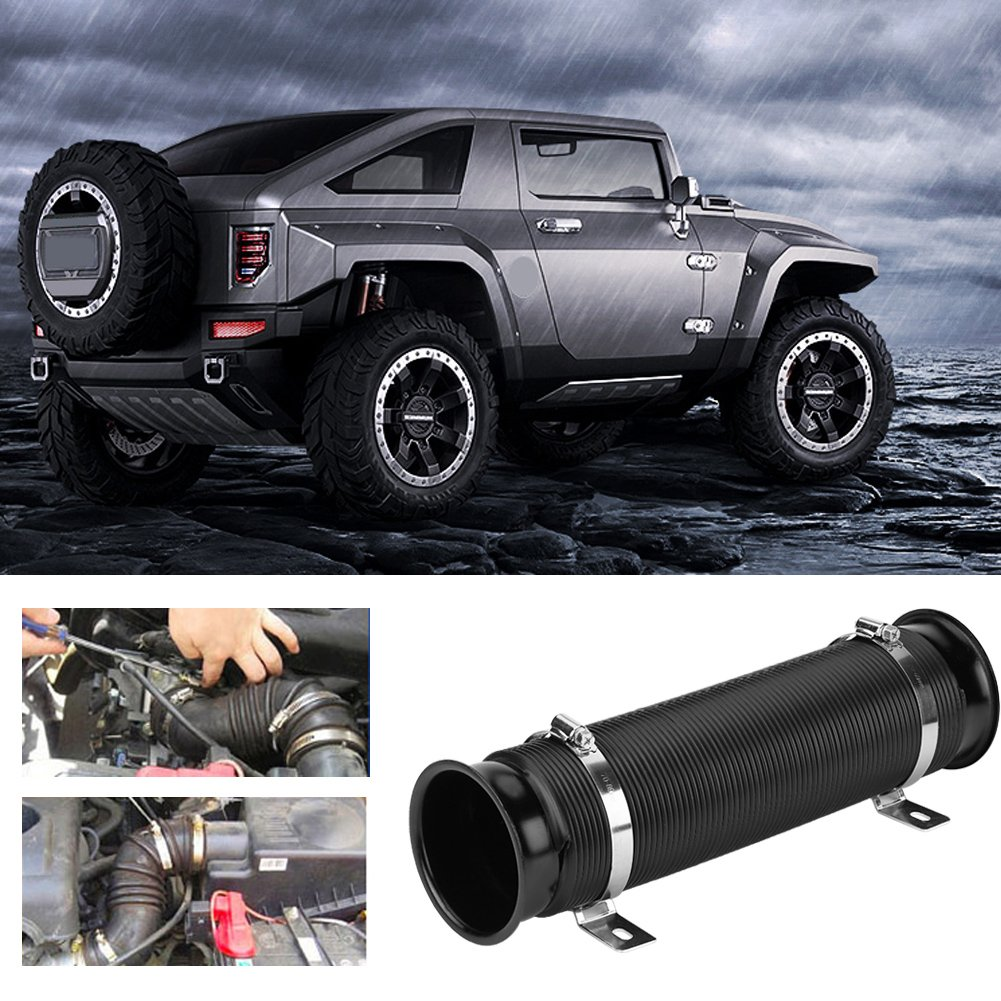 Air Intake Hose Universal 3 Clamp-on Car Cold Air Intake Induction Pipe Filter Tube Kit Black