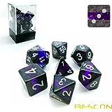 Bescon Polygonal Würfel Spielwürfel Mineralische Steine GEM VINES D&D Dice Set of 7, RPG - Rollenspiel Polyedrische Dice 7pcs Set of AMETHYST