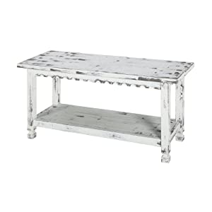 Rustic Cottage Bench with 1 Shelf, White Antique