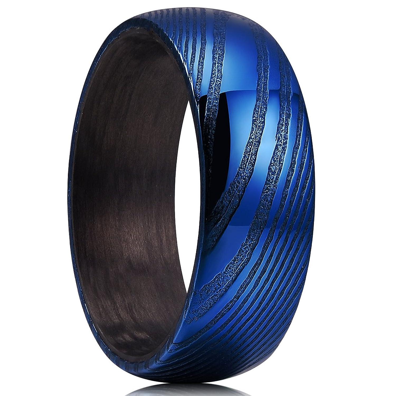 King Will WARRIORS 8mm Mens Wedding Band Blue Damacus Steel & Black Carbon Fiber Wedding Ring 7-14