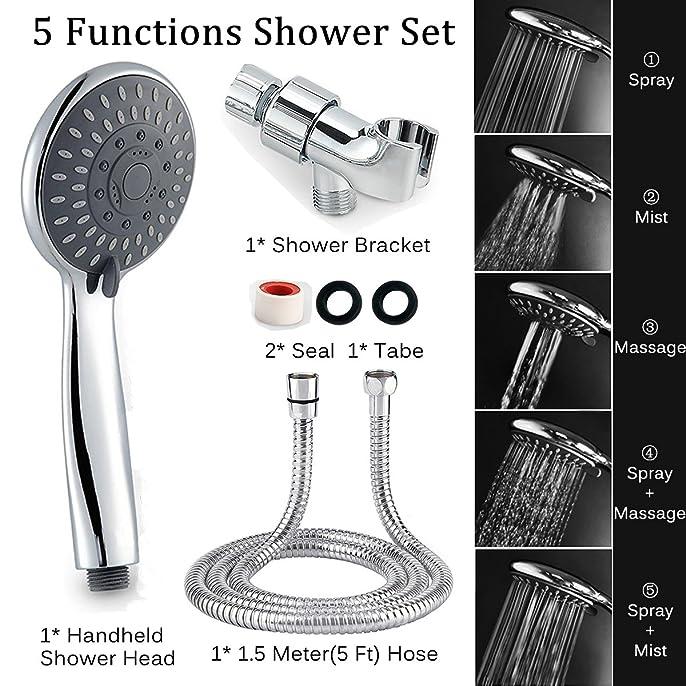 Handheld Shower, Arespark Shower Head 5 Settings Chrome Finish ...