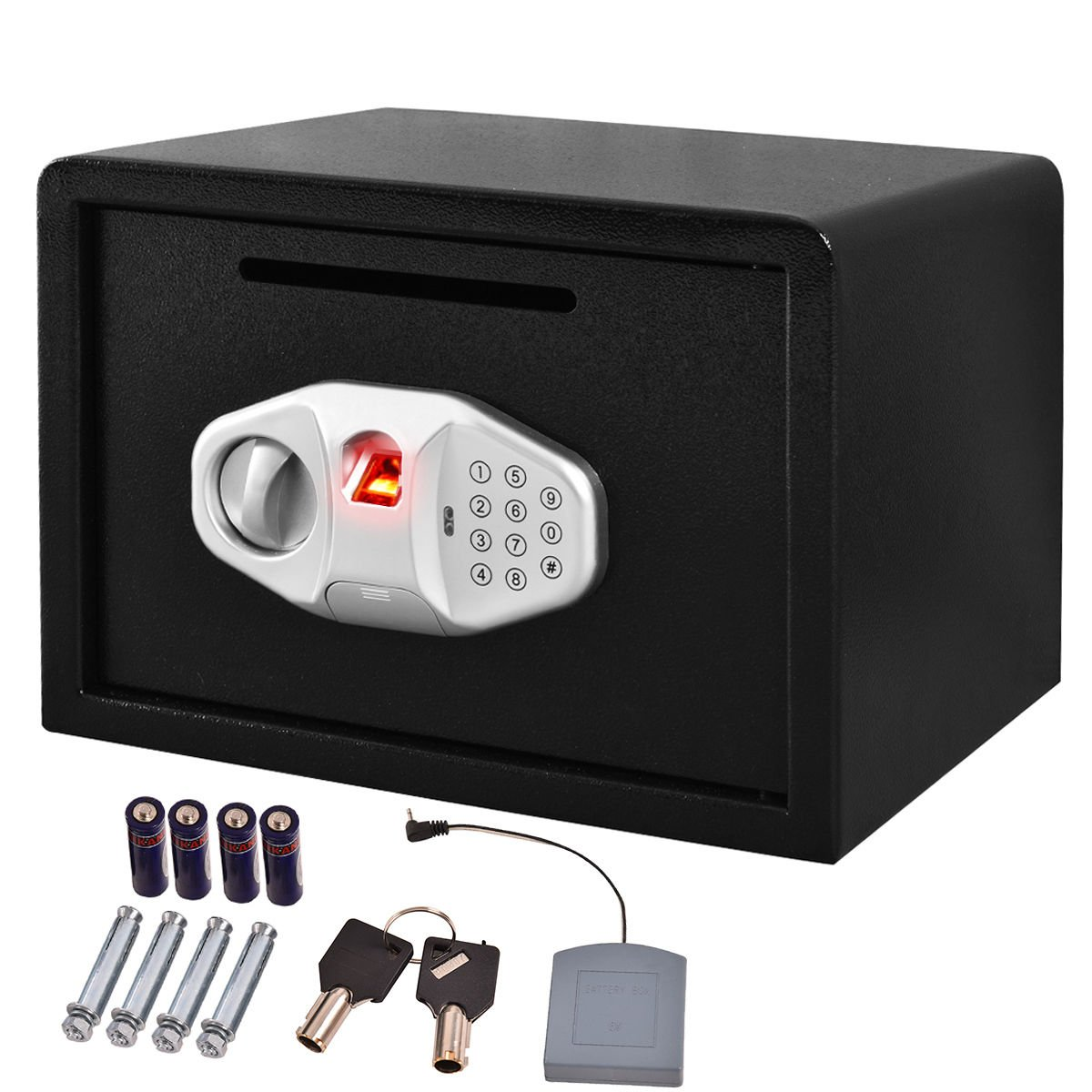 Safstar Cabinet Safes Biometric Fingerprint Electronic Digital Keypad Lock Security Box for Cash Jewelry Passport Guns Collectibles (FS Fingerprint: 9.8'' x 13.7'' x 9.8'')