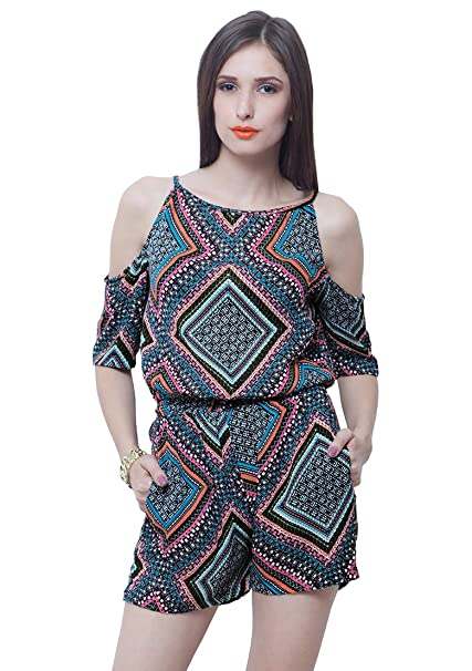 038c227b9bb FabAlley Cold Shoulder Playsuit - Aztec  Amazon.in  Clothing   Accessories
