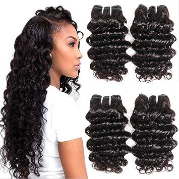 7A Grade Brazilian Human Hair Deep Wave 4 Bundles 100% Unprocessed Virgin  Brazilian Deep Curly Hair...