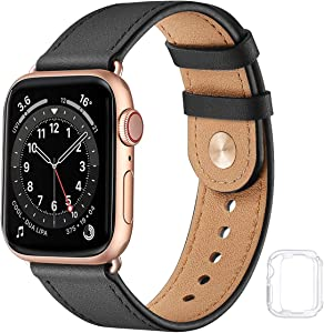Leather Band Compatible with Apple Watch Bands 44mm 42mm 40mm 38mm, Genuine Soft Leather Replacement Wristband Strap for Men Women for iWatch SE Series 6 5 4 3 2 1(Black/Rose Gold,38MM 40MM)