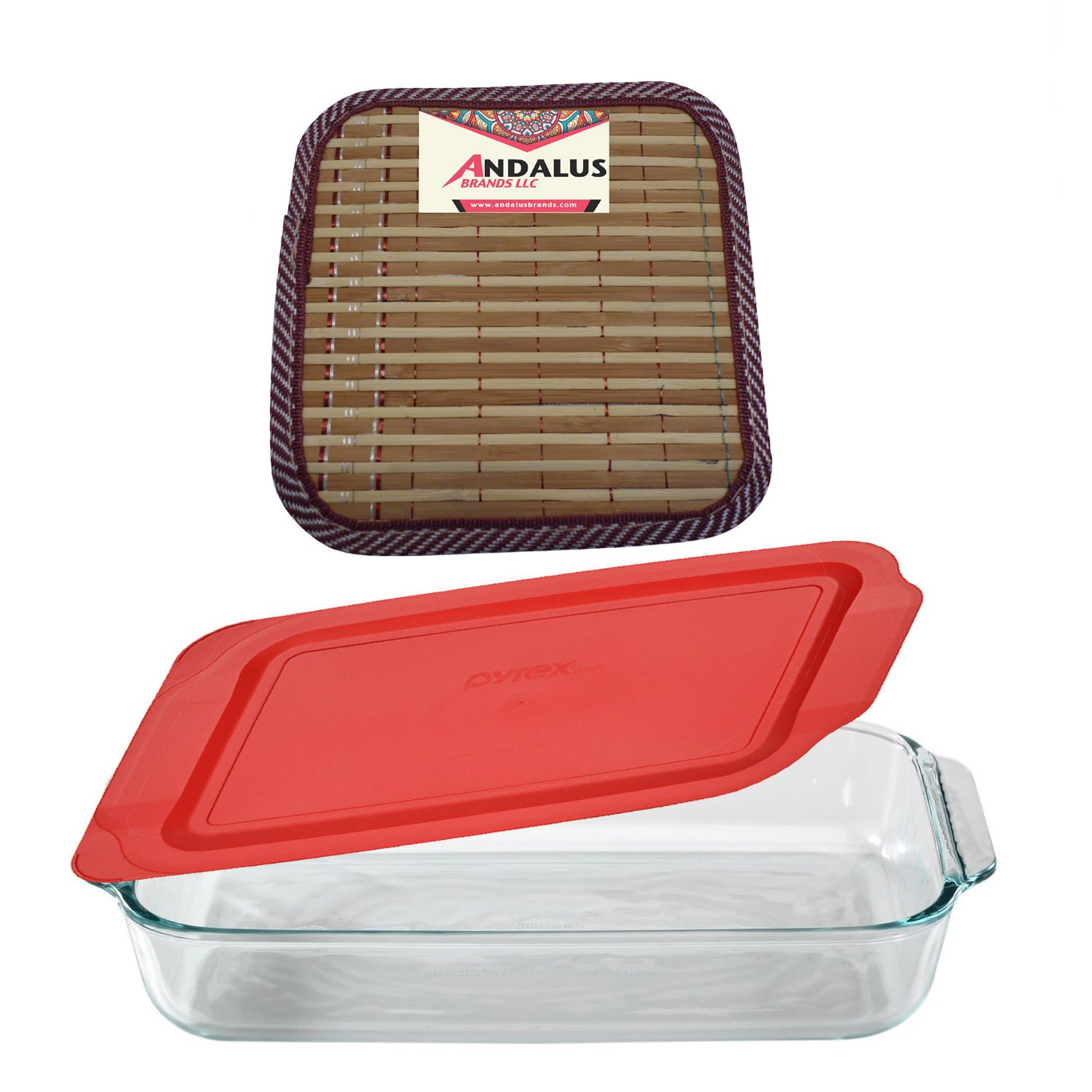 Pyrex Basics 3 Quart Glass Oblong Baking Dish with Red Plastic Lid, Lasagna Pan, Includes Bamboo Hot Pad By Andalus SYNCHKG129719