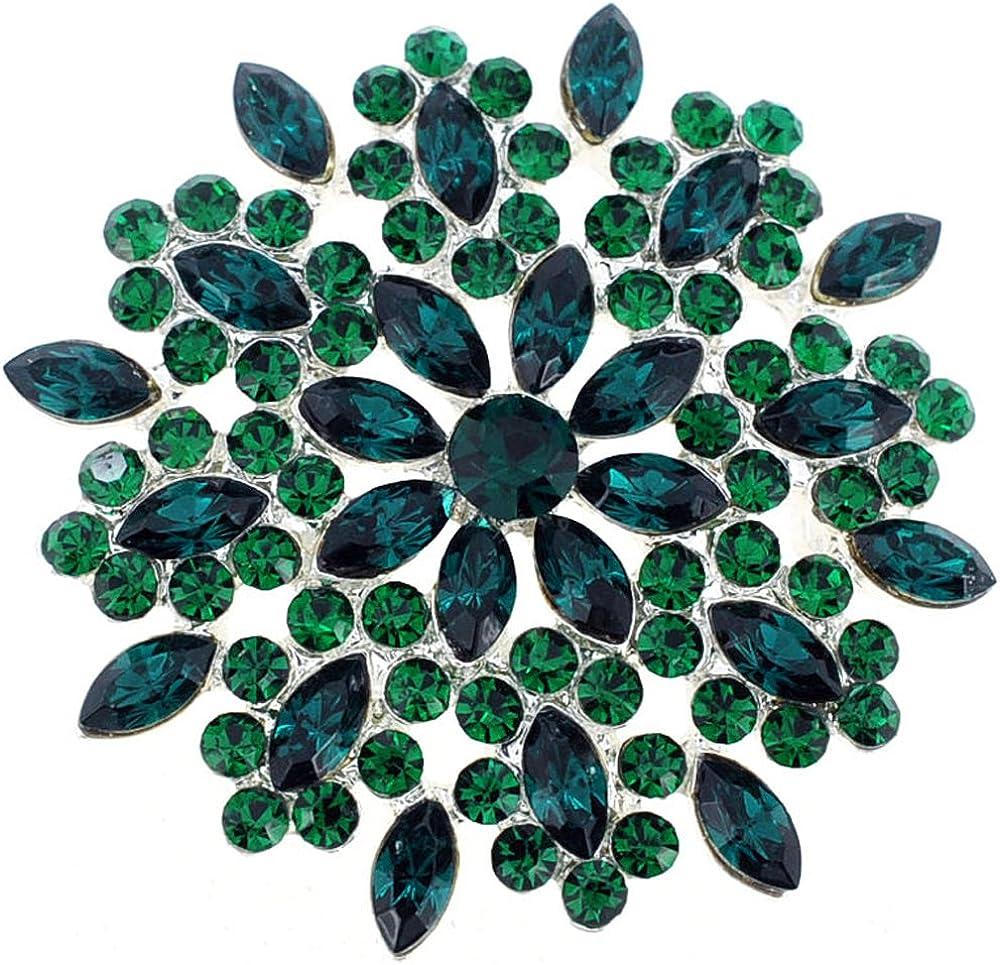 Fantasyard Green Crystal Flower Wedding Pin Brooch