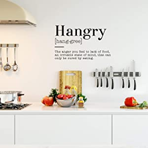 """Vinyl Art Wall Decal - Hangry The Anger You Feel to Lack of Food an Irritable State of Mind - 22"""" x 36"""" - Funny Food Jokes for Home Cafe Restaurant Eatery Dining Room Kitchen (22"""" x 36"""", Black)"""