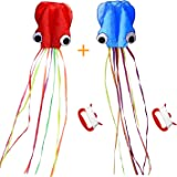 SINGARE Large Octopus Kite Long Tail Beautiful Easy Flyer Kites Beach Kites Good Toys Kids Adults