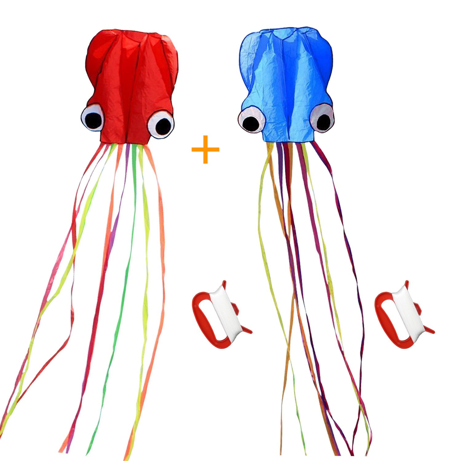 SINGARE Large Octopus Kite Long Tail Beautiful Easy Flyer Kites Beach Kites Good Toys for Kids and Adults(Red+Blue)
