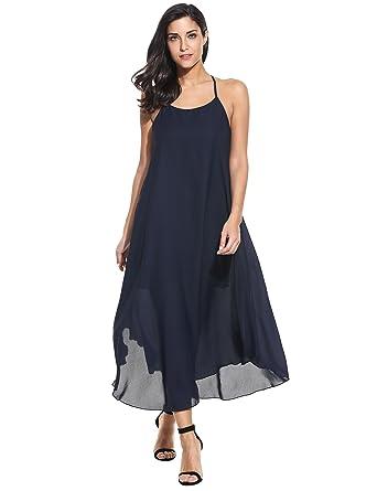 Zeagoo Damen Sommer Strandkleid Ärmelloses Trägerkleid Boho Kleider  Partykleid kurzes Chiffonkleid Maxikleid für Abend Urlaub Hochzeit