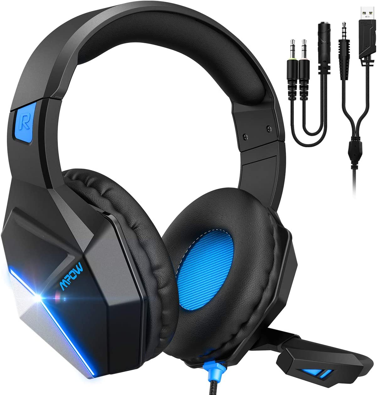 Mpow EG10 Gaming Headset for PS4, PC, Xbox One Controller,Over-Ear Headphones with Mic Noise Cancelling, Switchable LED Light Soft Earmuffs for Laptop Mac Nintendo Switch Pad MAC Game(2020 Edition)