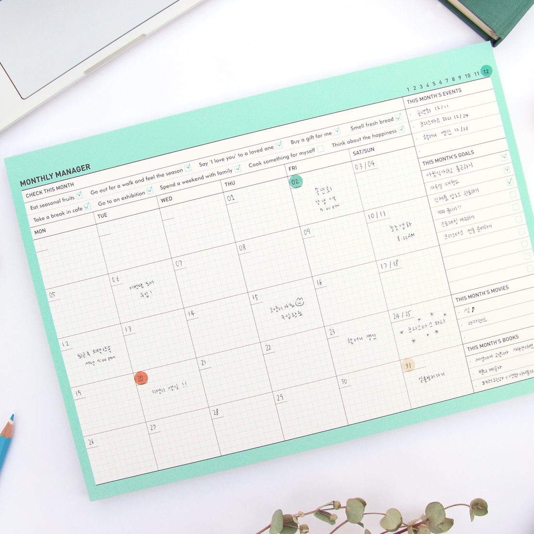 Paperian Pianificatore mensile senza date da tenere sulla scrivania Tropical Mint