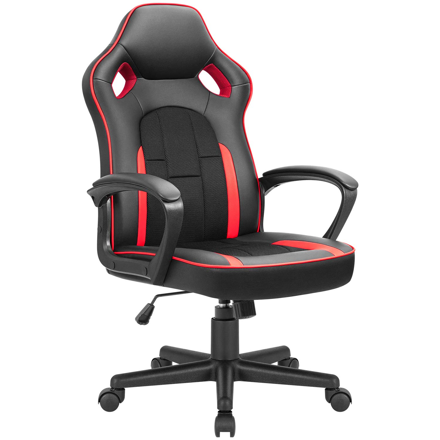 JUMMICO Gaming Chair Ergonomic Executive Office Desk Chair High Back Leather Swivel Computer Racing Chair with Lumbar Support (Red)