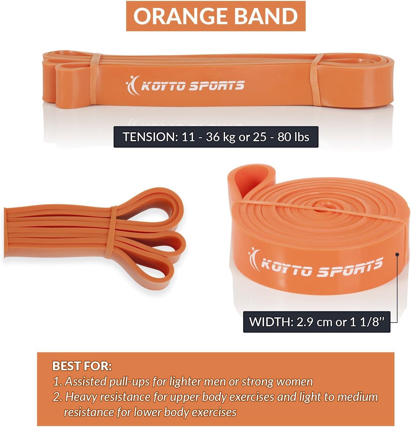 de 1 /à 80/kg Koyto Sports Bandes /élastiques de musculation assist/ée d/étente et force de levage 6/niveaux de r/ésistance 104/cm exercices avec /élastiques de musculation pour /étirement