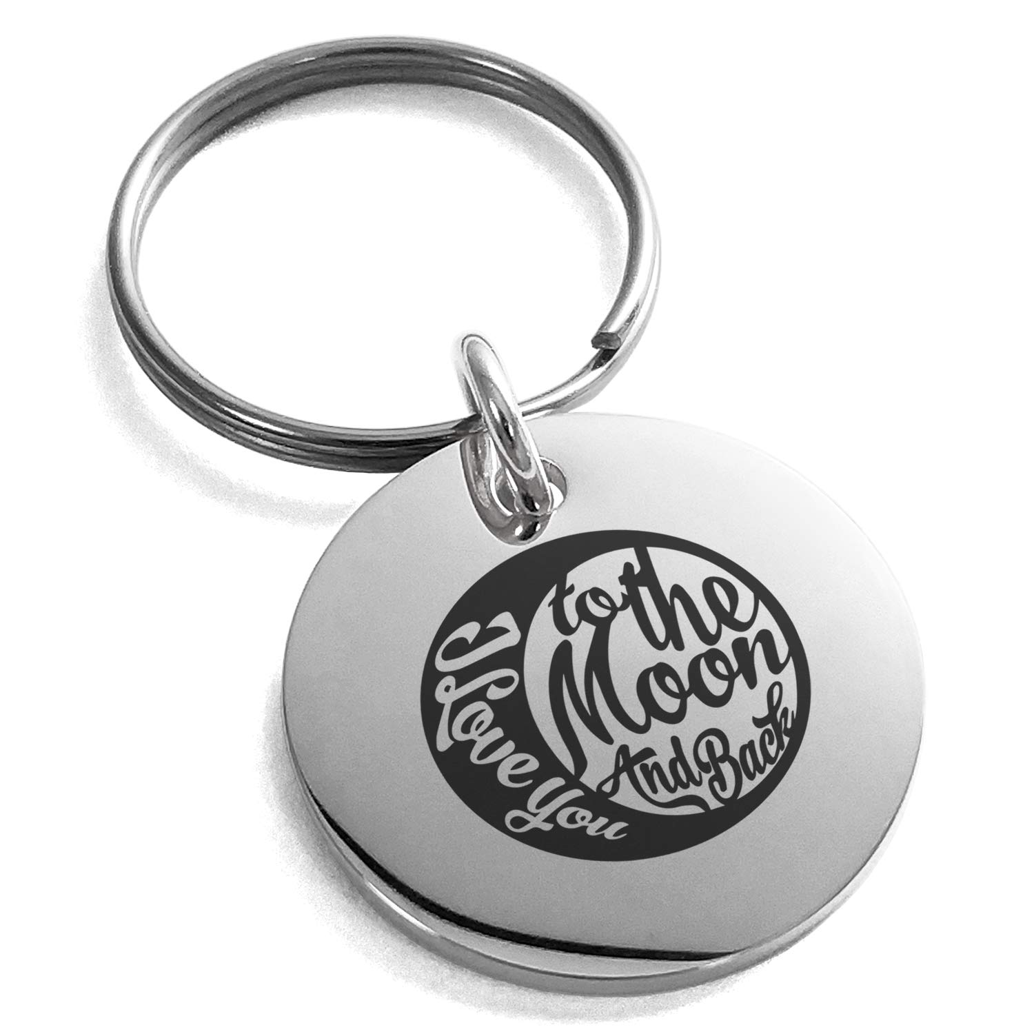 Tioneer Stainless Steel Retro I Love You to The Moon and Back Engraved Small Medallion Circle Charm Keychain Keyring