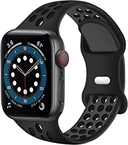 SVISVIPA Sport Bands Compatible for Apple Watch Bands 42mm 44mm,Breathable Soft Silicone Sport Women Men Replacement Strap Compatible with iWatch Series SE/6/5/4/3/2/1,Anthracite Black