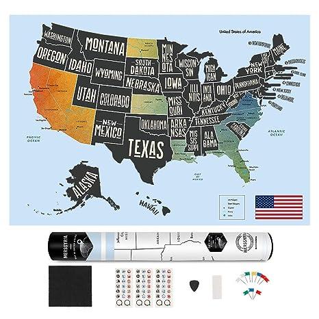 Amazon.com : Scratch Off Map United States, Merssyria ...