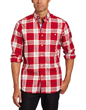 Men's Long Sleeve Twill Button Down Collared Plaid Shirt