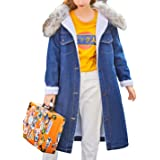 Omoone Women's Button Up Lapel Sherpa Fleece Lined Midi Long Denim Oversized Overcoat