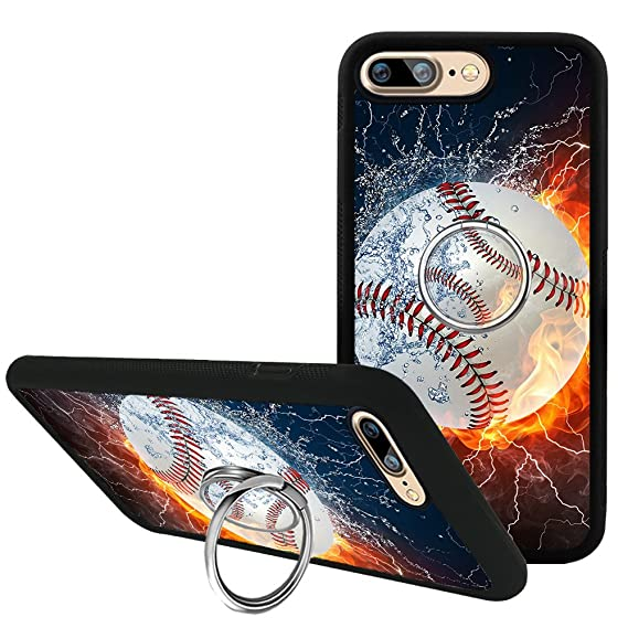 brand new 79295 93457 iPhone 8 Plus Case with Kickstand Grip, Baseball in the Flame and Water  iPhone 7 Plus Case 360 Degree Rotating Ring Holder, TPU Bumper Silicone ...