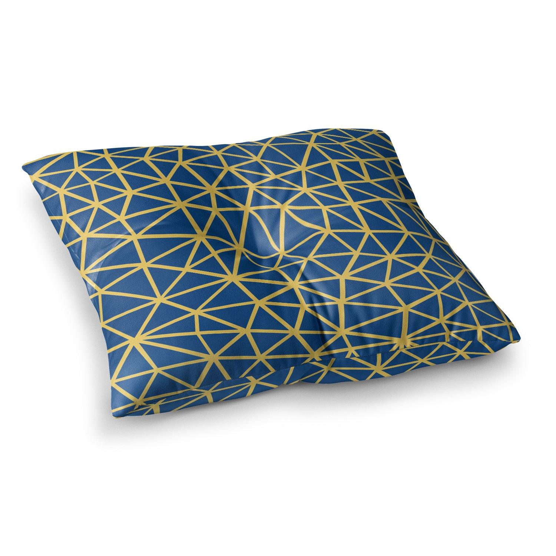 Kess InHouse Project M Segment Blue Yellow Digital 23 x 23 Square Floor Pillow
