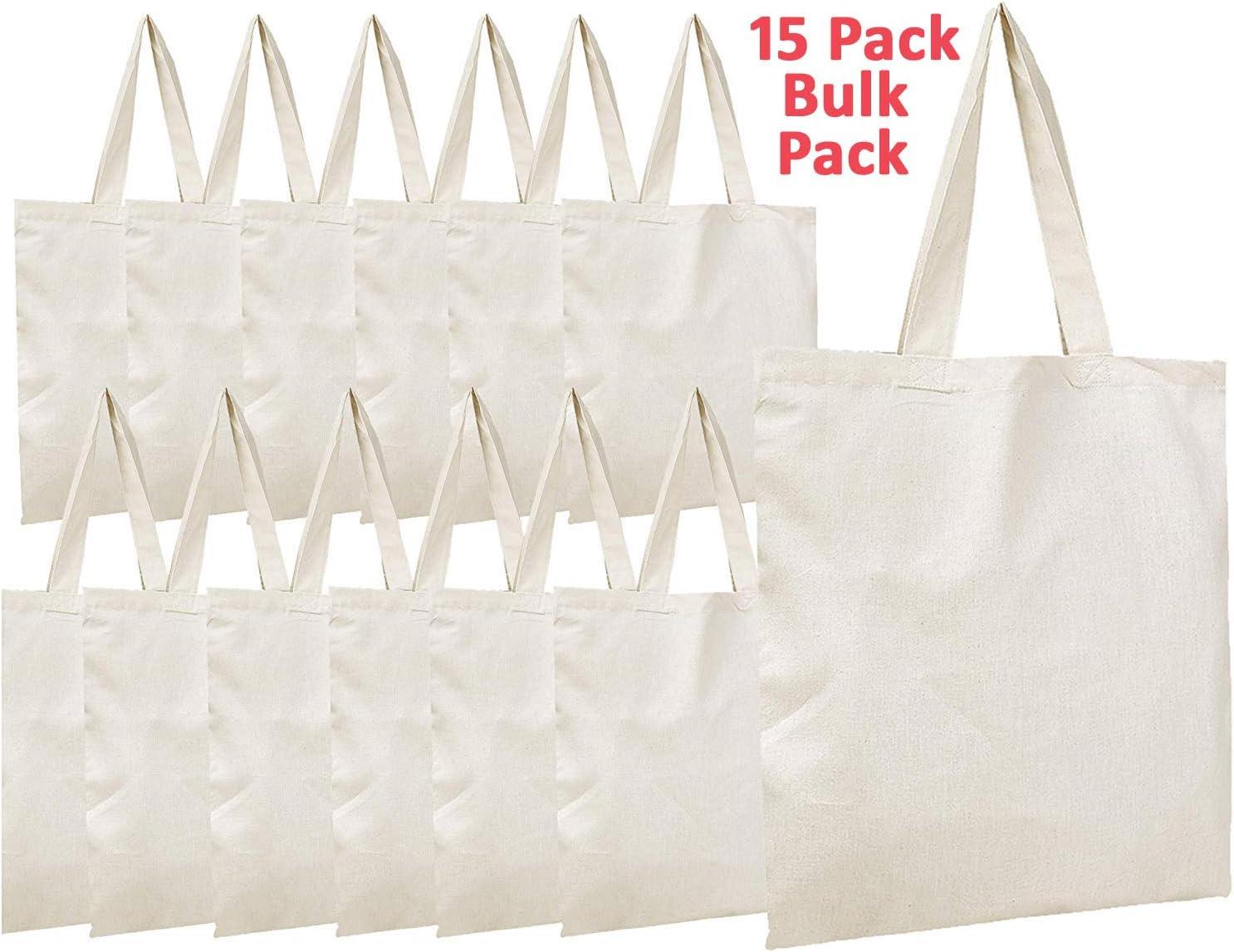 """Simpli-Magic 79163 Canvas Tote Bags, 11"""" x 13"""", Pack of 15, Natural"""