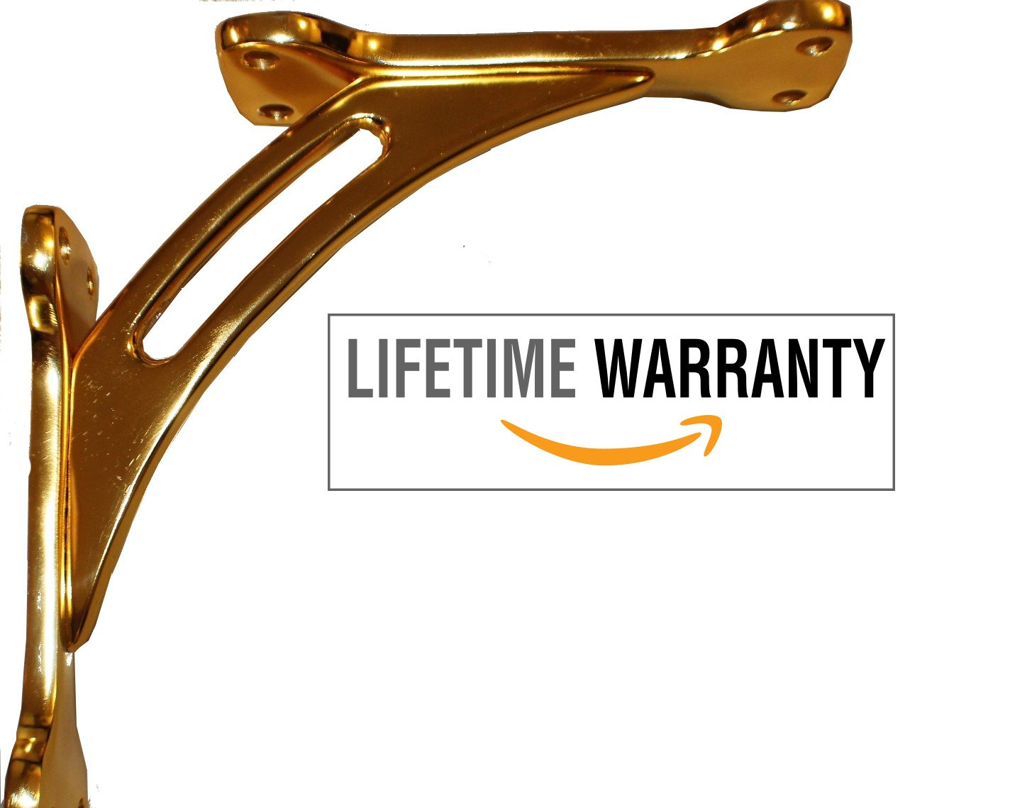 "Polished Gold 10""x10""x2'' Premium Heavy Duty (Supports 250lbs) Stainless Steel & Aluminum Countertop Brackets 