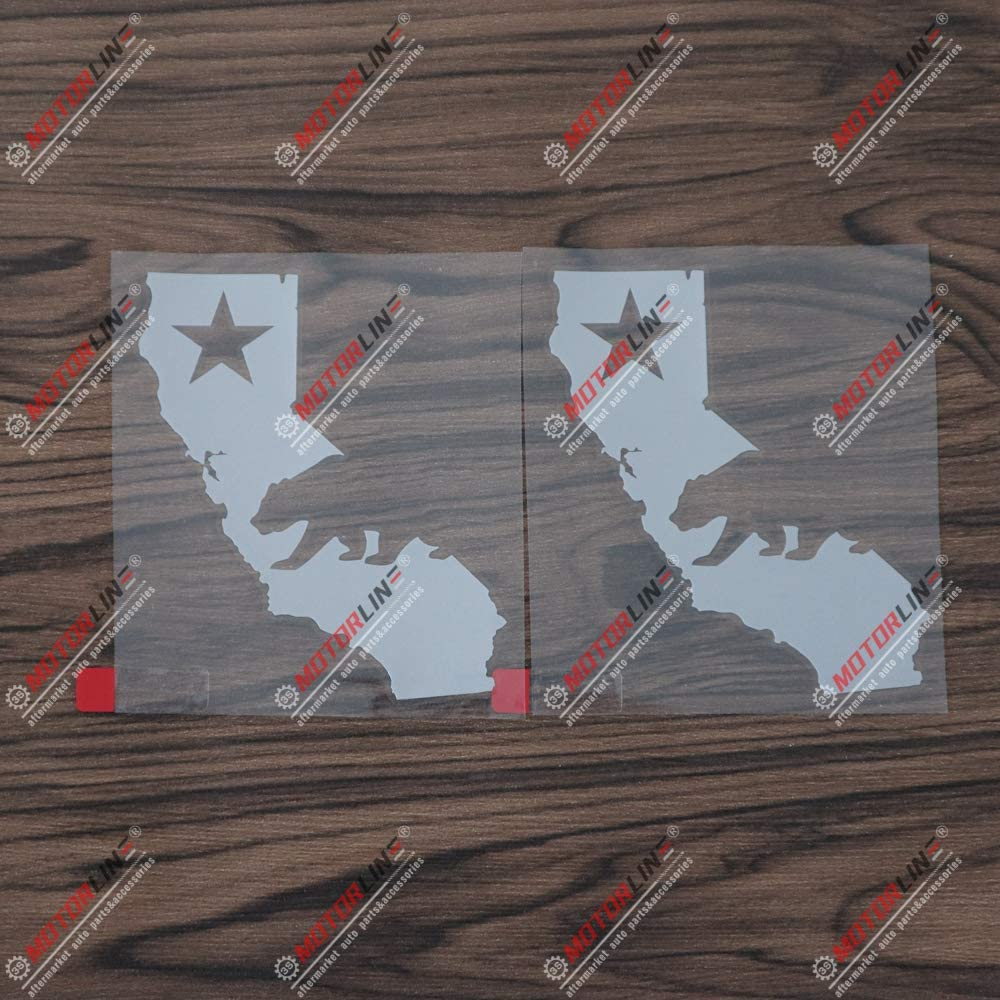 3S MOTORLINE 2X Silver 4 California Bear Decal Sticker Map Outline Republic Cali Car Vinyl