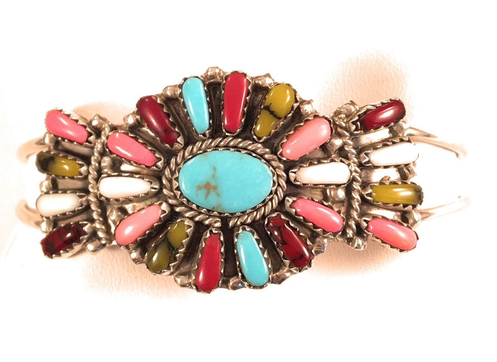 Pam Benally Multi Stone Sterling Silver Cluster Cuff Bracelet Signed