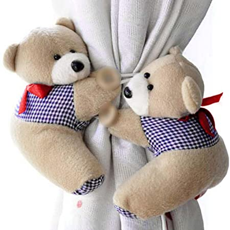 1d33ad6c5f2 HuntGold 1 Pair Cute Cartoon Bear Window Curtain Hook Tieback Plush Curtain  Buckle Hanger Belt