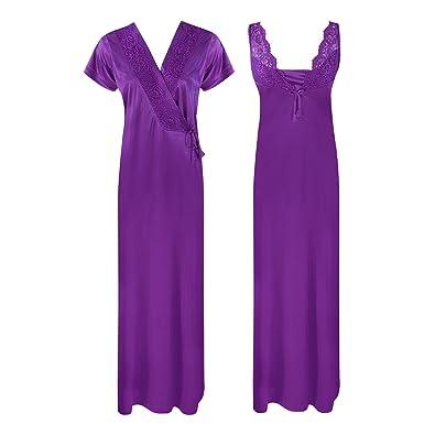 ec98910671 Women Luxury Nightdress Satin Lace Kimono Sleepwear Dressing Gown Robe  Nighty 2 Pcs Set-Wine-One Size  Regular (8-14)  Amazon.co.uk  Clothing