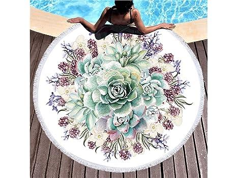 kxrzu Gracioso Patrones de plantas Impreso redondo toalla de playa con borlas Super absorbente de agua