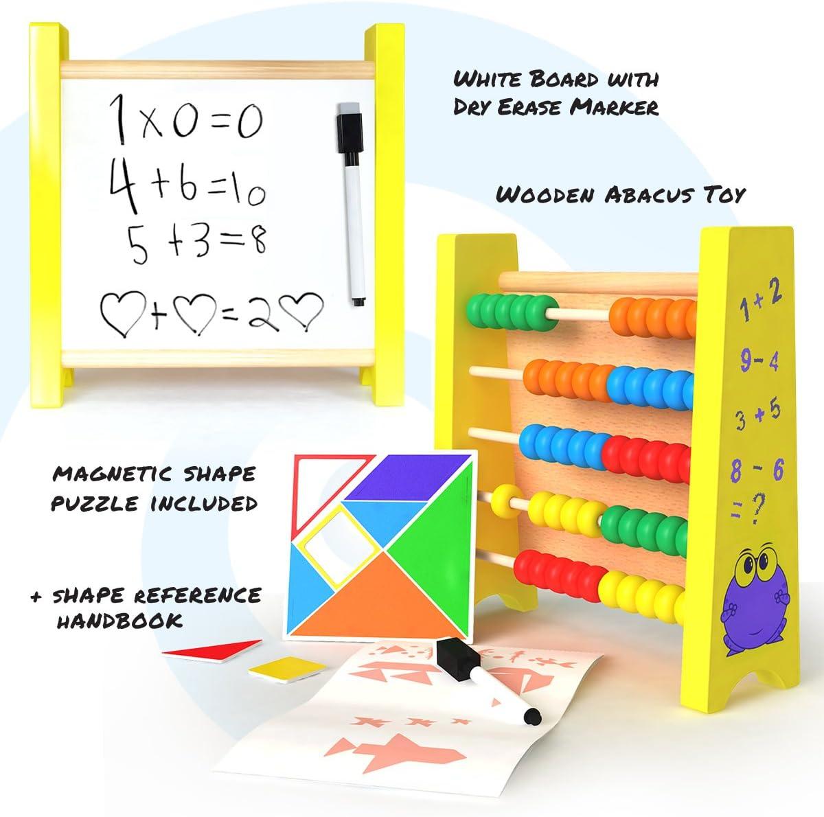 aGreatLife® Abaco in Legno Giocattolo Educativo per Bambini con Kit Puzzle Magnetico: Il Miglior Gioco per Contare con Perline in Legno dal Colore