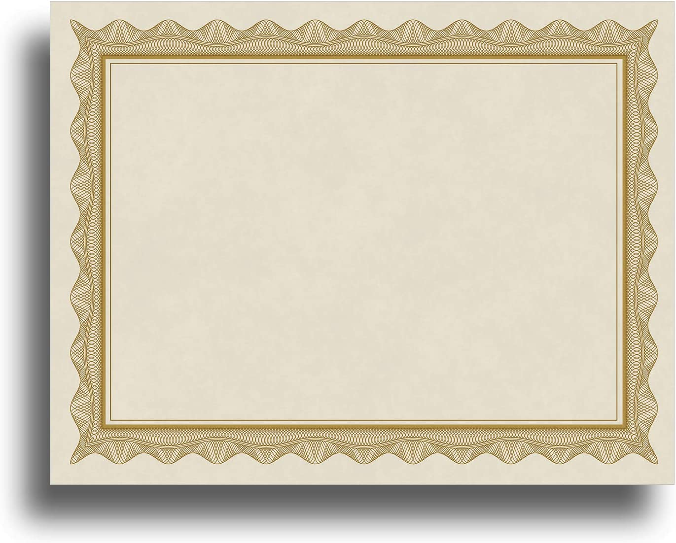 """Blank Parchment Certificate Paper for Awards - Works with Inkjet/Laser Printers - Measures 8 1/2"""" x 11"""" - Gold Border - 250 Sheet Pack"""