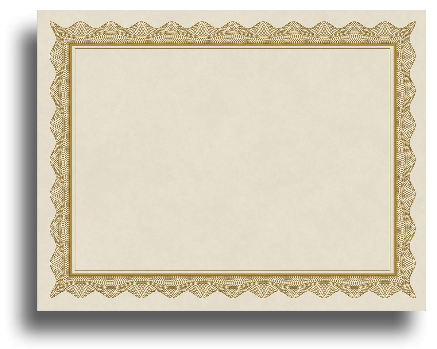 Blank Parchment Certificate Paper for Awards - Works with Inkjet/Laser Printers - Measures 8 1/2'' x 11'' - Gold Border - 250 Sheet Pack by Desktop Publishing Supplies, Inc.