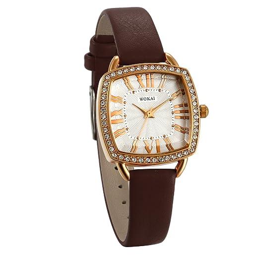 JewelryWe Relojes de Mujer Con Diamantes Cuadrado Reloj Analogico Correa de Cuero Marrón Retro Vintage, Retro Reloj de Pulsera para Chicas Números Romanos, ...