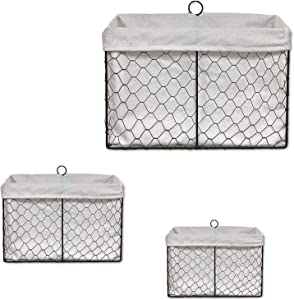 THE NIFTY NOOK - Set of 3 Farmhouse Wall Mount Wire Baskets Liner Set Home and Kitchen Storage (Farmhouse Wall Baskets - Bright White)