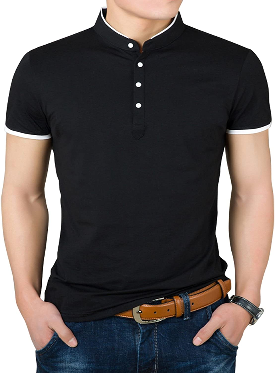 X-Future Men Buttons Fashion Print Business Short Sleeve Polo Shirts