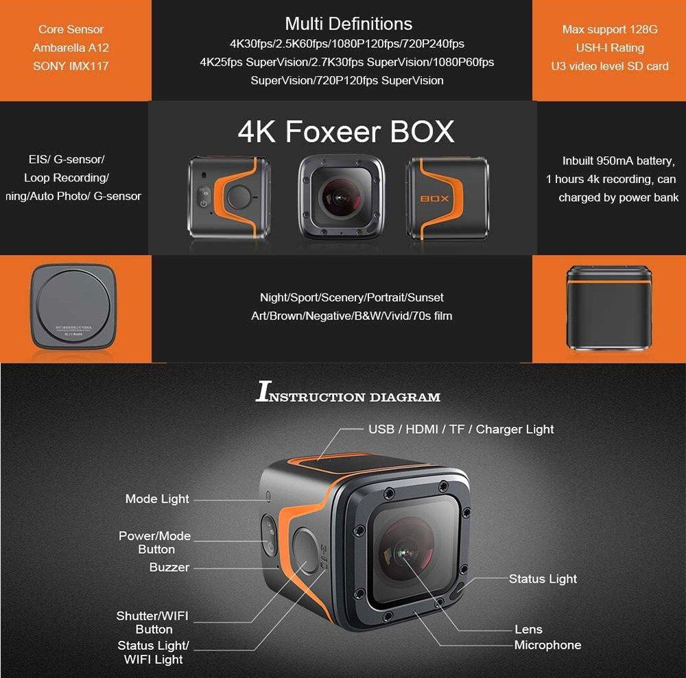 Foxeer box Action Cam 16MP 4K WiFi Waterproof Sports Camera 155