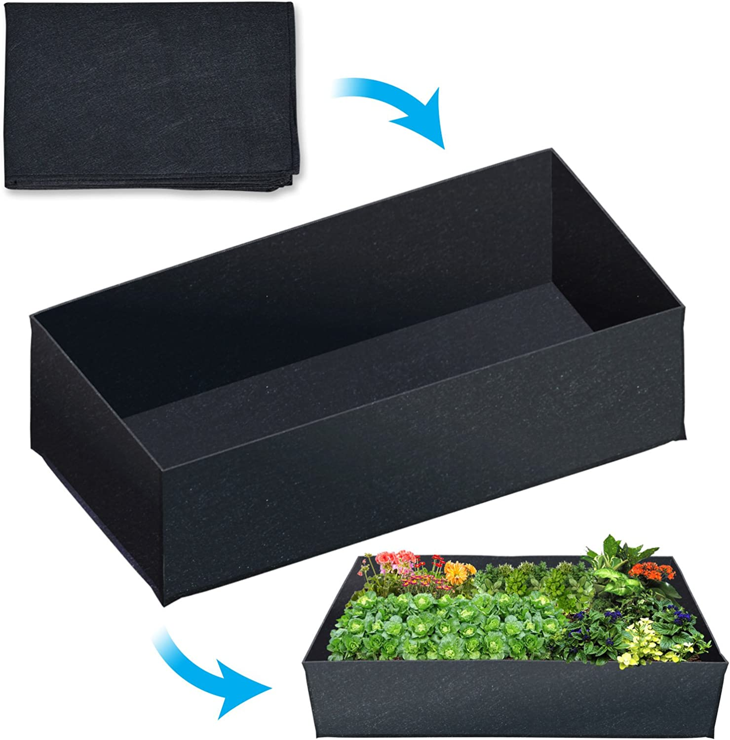 Veg Herb Flower Wood Plant Tub Containers 2 x Harris Wooden Square Planters