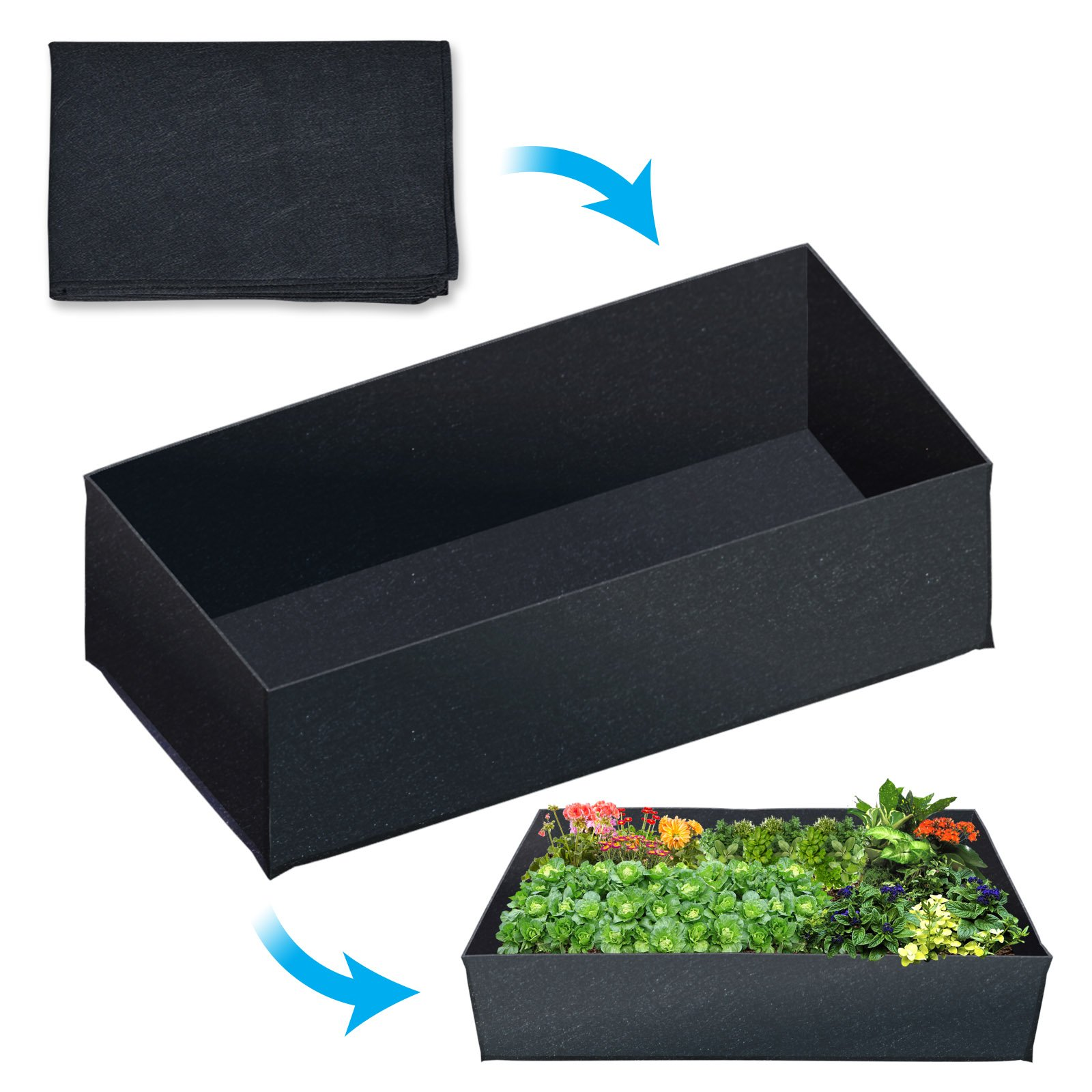 BenefitUSA Fabric Raised Planting Bed Garden Grow Bags Herb Flower Vegetable Plants Bed Rectangle Planter (24''x 48'')