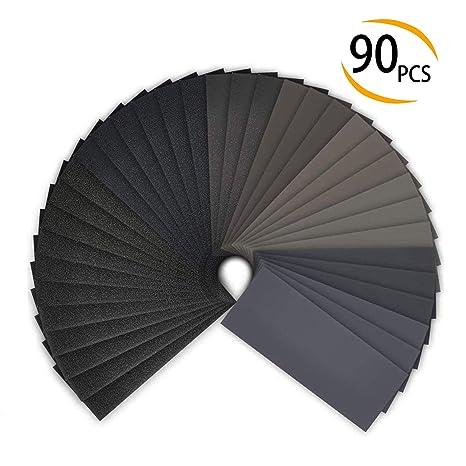 36Pcs Set Nass Schleifpapier Bogen Sortiment Schleifmittel Körnung Papier