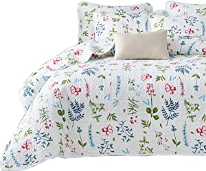 Uozzi Bedding 3 Piece Reversible White Quilt Set Queen Size with Blue Green Leaves and Red Flowers Soft Microfiber Lightweight Floral Adult Summer Coverlet Bedspread for All Season