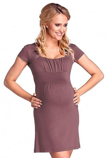 Vestido premamá manga corta cuello cuadrado. 081p (Cappuccino, EU