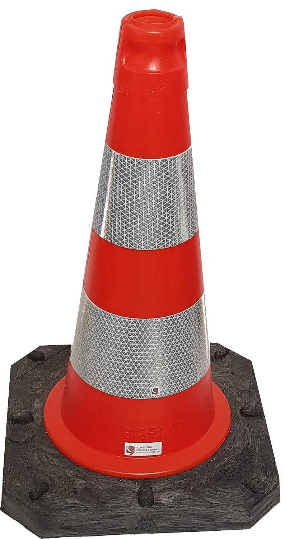 UvV® Leitkegel reflektierend 50 cm Pylone rot-orange 2, 5 kg + Hochreflex RA2/C Folienringe Verkehrskegel (Standard) ES-Team Consult GmbH