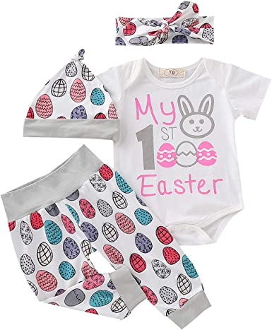 Newborn Infant Baby Girls Boys Tops Rabbit Easter Cartoon Pants Outfits Clothes