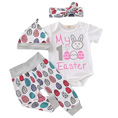 be7eb357a Amazon.com: Baby Girl My First Easter Outfit Newborn Infant Baby Girl Boy Bunny  Onesie Bodysuit Tops+Eggs Pants Hat Clothes Set: Clothing