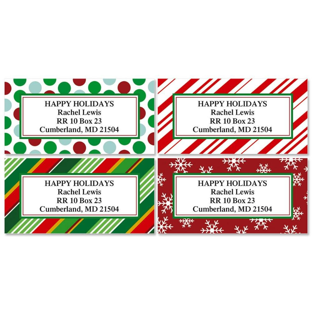 Giftwrap greetings personalized return address labels set of 144 large self adhesive flat sheet labels with border 4 holiday designs by