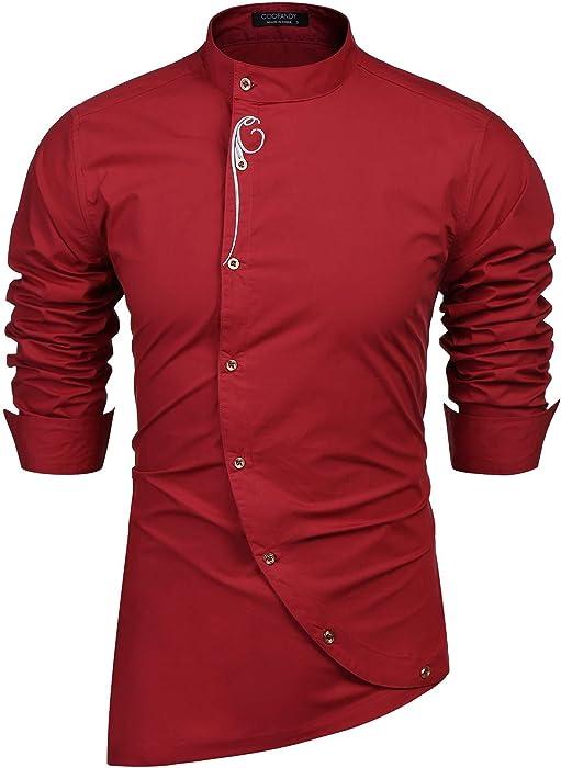 f54afda59 COOFANDY Men's Long Sleeve Embroidery Button Down Irregular Design Slim Fit  Casual Dress Shirt(Wine